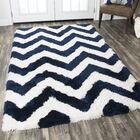Deveral Hand-Tufted Navy/White Area Rug Rug Size: Rectangle 3'6
