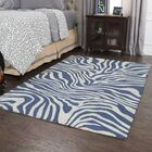 Harpreet Hand-Tufted Wool Gray/Navy Area Rug Rug Size: Rectangle 8' x 10'
