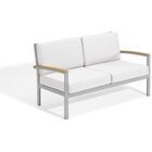 Maclin Teak Loveseat with Cushions Cushion Color: Eggshell White, Frame Color: Vintage Teakwood/Gray