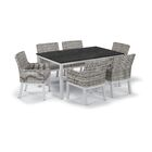 Farmington Wicker 7 Piece Dining Set Cushion Color: Stone, Finish: Ash