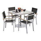 Farmington 5 Piece Dining Set with Sling Seat Chairs Finish: Vintage, Cushion Color: Titanium