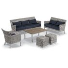 Butlerville 6 Piece Rattan Conversation Set with Cushions Cushion Color: Midnight Blue
