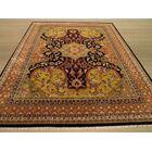 Nindaura Hand-Knotted Gold/Black Area Rug Rug Size: Rectangle 8' x 10'