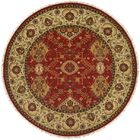 Khalifa Hand-Woven Red/Ivory Area Rug Rug Size: Round 6'