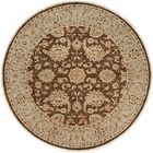 Shanghai Hand-Knotted Brown/Blue Area Rug Rug Size: Round 6'