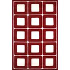 Modern Living Deco Blocks Red/White Rug Rug Size: 3'6
