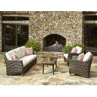 Sycamore 4 Piece Sunbrella Sofa Set with Cushions Accent Pillow Fabric: Avalon Garnet