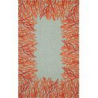 Bluford Orange Coral Border Orange/Blue Outdoor Area Rug Rug Size: 7'6