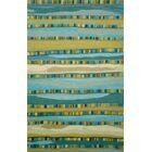Shelburne Mosaic Blue Stripe Area Rug Rug Size: 3'6