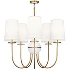 Fineas 5-Light Shaded Chandelier Finish: Aged Brass/Alabaster Stone, Shade Color: Fondine