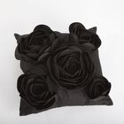 Rose Petals Throw Pillow Color: Black