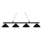 Zephyr 4-Light Cone Metal Shade Billiard Light Shade Color: Matte Black, Finish: Matte Black / Brushed Nickel