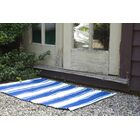 Zen Lucky Hand-Woven Cotton Blue/White Area Rug Rug Size: Rectangle 6' x 9'