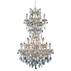 Regina 25-Light Royal Cut Candle Style Chandelier Finish / Crystal Finish / Crystal Trim: Chrome / Golden Teak (Smoky) / Royal Cut