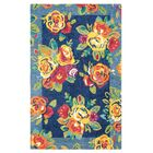 Cabbage Roses Hand-Tufted Navy Area Rug Rug Size: Rectangle 5' x 8'