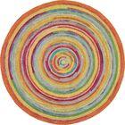 Concentric Orange/Green Area Rug Rug Size: Round 7'