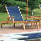 Earls Reclining Teak Chaise Lounge Fabric: Navy