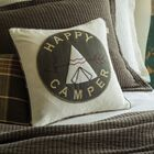 Happy Camper Cotton Throw Pillow