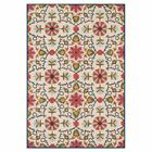 Keffer Hand-Hooked Beige/Red Area Rug Rug Size: Rectangle 7'10