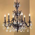 Majestic 6-Light Candle Style Chandelier Crystal Type: Crystalique Black, Finish: Aged Pewter
