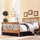 Wood and Metal Sleigh Bed Size: King