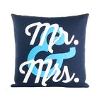 Flirt Mr and Mrs Throw Pillow Color: Navy / White