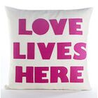 Celebrate Everyday Love Lives Here Throw Pillow Color: Cream Canvas/Turquoise