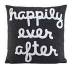 It Starts With A Kiss Happily Ever After Throw Pillow Color: Black & White Hemp & Organic Cotton, Size: 22