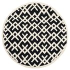 Dhurries Hand-Woven Wool Black/Ivory Area Rug Rug Size: Round 6'