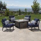 Portsmouth 5 Piece Conversation Set with Cushions Fabric: Navy Blue