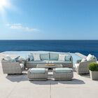Greenfield Deluxe 8 Piece Rattan Sunbrella Sofa Seating Group with Cushions Fabric: Spa Blue