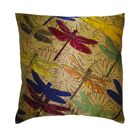 Flower Power Dragonfly Throw Pillow Color: Ecru
