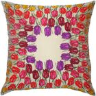 Flower Power Tulip Throw Pillow Color: Cream