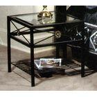 Kaity Glass End Table Metal Color: Antique Bronze