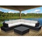 Port 6 Piece Rattan Sectional Set with Cushions Color: Espresso, Fabric: Peridot