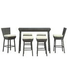 Napa 7 Piece Bar Height Dining Set with Cushions Fabric: White, Color: Espresso