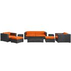 Venice 8 Piece Rattan Sofa Set with Cushions Color: Espresso, Fabric: Orange
