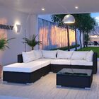 Hampton 6 Piece Rattan Sectional Set with Cushions