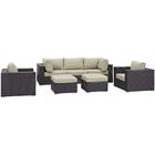 Ryele 7 Piece Rattan Sectional Set with Cushions Color: Beige
