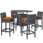 Keiran 5 Piece Bar Height Dining Set with Cushion Cushion Color: Tuscan