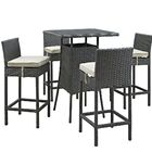 Tripp 5 Piece Bar Height Dining Set with Cushion Cushion Color: Antique Beige