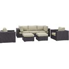 Ryele 7 Piece Rattan Sectional Set with Cushions Fabric: Espresso Beige