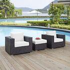 Ryele 3 Piece Rattan Conversation Set with Cushions Fabric: White