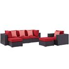 Ryele 6 Piece Rattan Sectional Set with Cushions Fabric: Red