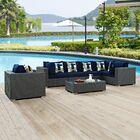 Tripp 7 Piece Sunbrella Sectional Set with Cushions Fabric: Navy