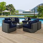 Tripp 7 Piece Rattan Sunbrella Sectional Set with Cushions Fabric: Navy