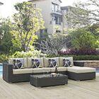 Tripp 5 Piece Rattan Sunbrella Sectional Set with Cushions Fabric: Beige