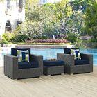 Tripp 3 Piece Sunbrella Conversation Set with Cushions Fabric: Navy