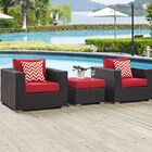 Ryele 3 Piece Rattan Conversation Set with Cushions Fabric: Red