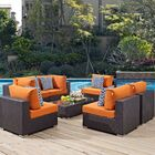 Ryele 7 Piece Rattan Sectional Set with Cushions Fabric: Orange